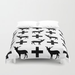Deer Plus - Black and white deer pattern designs with plus sign perfect cell phone case gift ideas Duvet Cover