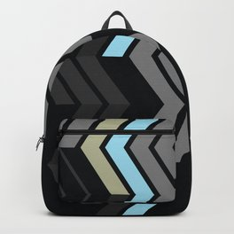 Deconstructed Chevron C – Gray / Gold / Blue Abstract Pattern Backpack