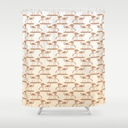 Gold Leaf Flamingo Pattern Shower Curtain