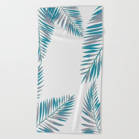 Watercolor tropical palm leaves blue Beach Towel