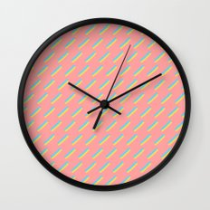 80's Pastel Stripes on Pink  /// www.pencilmeinstationery.com Wall Clock