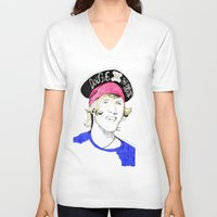 mcfly V-neck T-shirts featuring Dougie the pirate (McFly) by Mariam Tronchoni