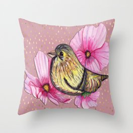 Delicate floral bird on pink and gold raindrop pattern Throw Pillow