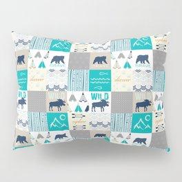 Woodland Cabin Decor Cheater Quilt Navy Aqua Grey Pillow Sham