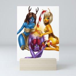 Buzzing Girls Christmas Candy Mini Art Print
