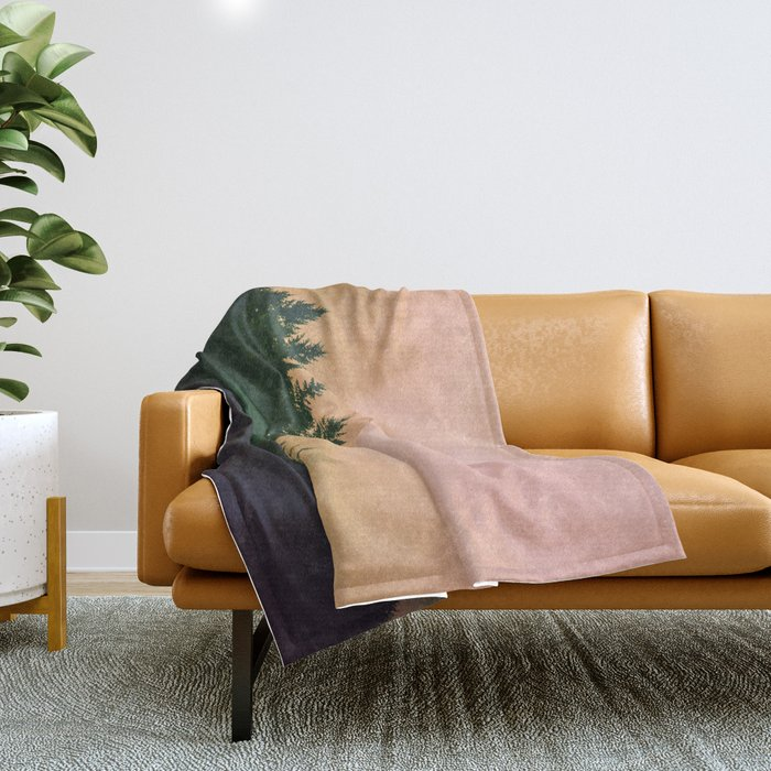 Cascadia Green Trees and Sunset Throw Blanket