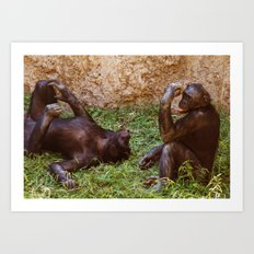 Chillin Chimps Art Print