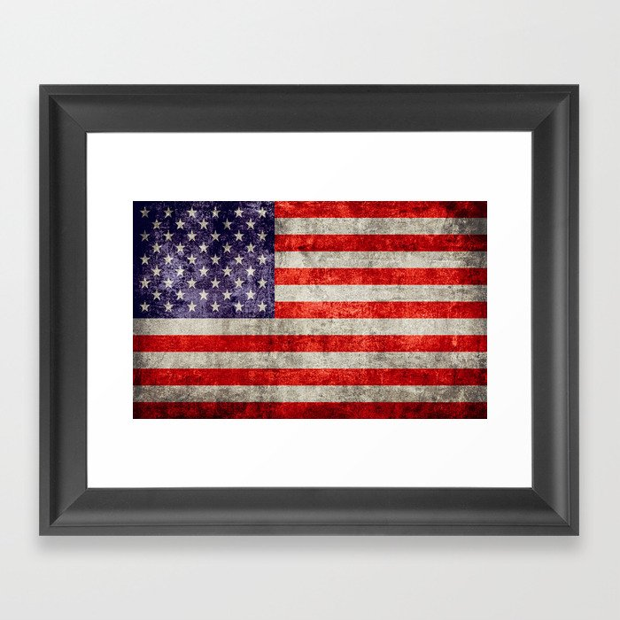 117221dc92dc Antique American Flag Framed Art Print by falln