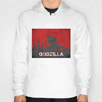 godzilla Hoodies featuring Godzilla by WatercolorGirlArt