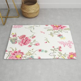 dainty cottagecore floral pattern - pink Rug
