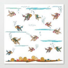 colorful fishes and seashells - white Canvas Print