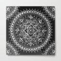 White Flower Mandala on Black by laurelmae