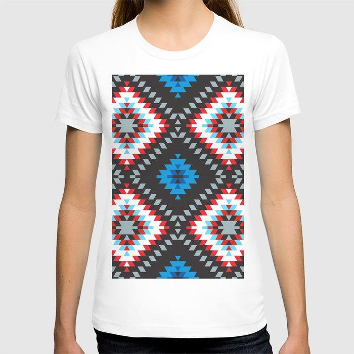 Colorful patchwork mosaic oriental kilim rug with traditional folk geometric ornament. Tribal style T-shirt