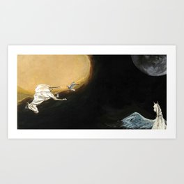 Horse flying to the moon Silver stream illustration Art Print