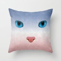 meow Throw Pillows featuring MEOW by Rosa Picnic