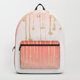 Color block coral faux gold glitter waterdrops ombre Backpack