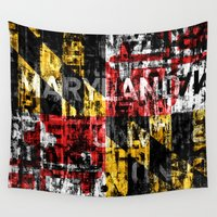 maryland Wall Tapestries featuring Maryland Flag Print by david zobel