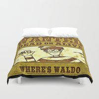 waldo Duvet Covers featuring Where's Waldo Wanted Poster by Silvio Ledbetter