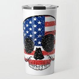 A Nice Tee For American Illustration Of A Skull T-shirt Design American Flag Skull America Stars Travel Mug