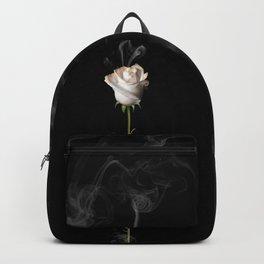 White Burning Rose Backpack