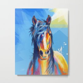 Horse Beauty - colorful animal portrait Metal Print