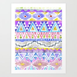 Watercolor Aztec Pattern violet Art Print
