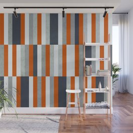 Orange, Navy Blue, Gray / Grey Stripes, Abstract Nautical Maritime Design by Wall Mural