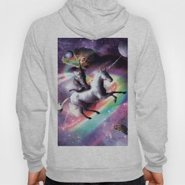 Space Cat Riding Unicorn - Laser, Tacos And Rainbow Hoody
