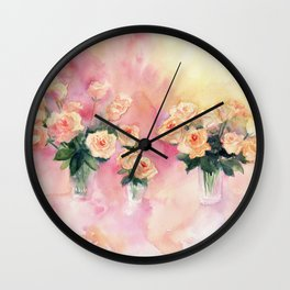 Roses Bouquet Abstract Watercolor Wall Clock