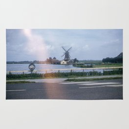 Vintage Color Photo * 1950's * Windmill * Holland * Lumber Production *1940's * Kodachrome Rug