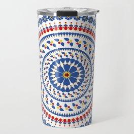 Floral Mandala Blue and Red colour Palette Travel Mug