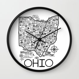 Ohio Map Wall Clock