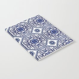 Portuguese Tiles Azulejos Blue and White Pattern Notebook