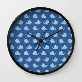 Cute nautical blue teal white funny whale pattern Wall Clock