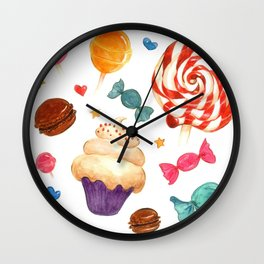 Candy pattern in watercolor Wall Clock