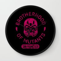 xmen Wall Clocks featuring Bad Boy Club: Brotherhood of Mutants  by Josh Ln