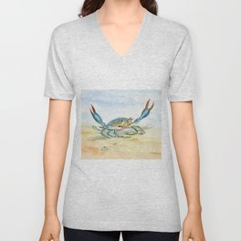 Colorful Blue Crab Unisex V-Neck