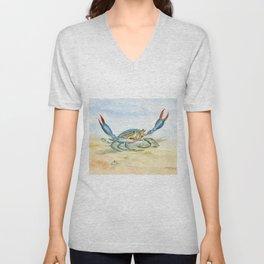 Colorful Blue Crab Unisex V-Neck