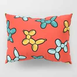 Balloon Animal Dogs Pattern in Red Pillow Sham