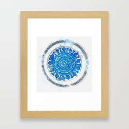 A BLUE AND WHITE 'PEONY' DISH watercolor by Ahmet Asar Framed Art Print