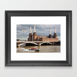 Battersea Power Station with Pink Floyd Pig Framed Art Print