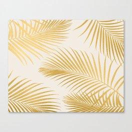 Metallic Gold Tropical Palm Fronds Canvas Print