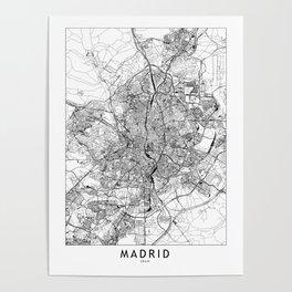 Madrid White Map Poster