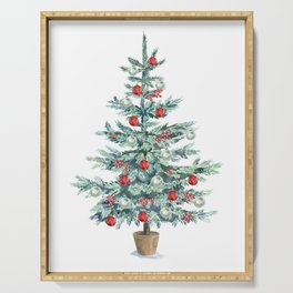Christmas tree with red balls Serving Tray