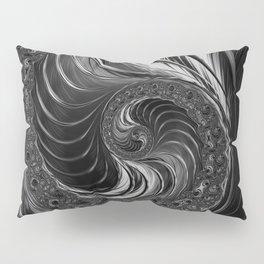 Modern Fractal Black White Metal Nautilus Swirl Pillow Sham
