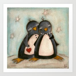 Penguin love -  Art Print