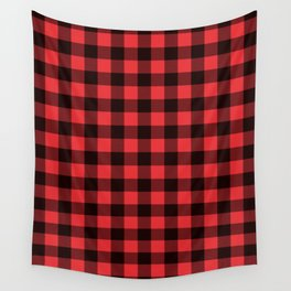 Red Plaid Wall Tapestry