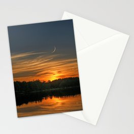 Sunset, Lake, Pine Forest & Crescent Moon Composite Stationery Cards