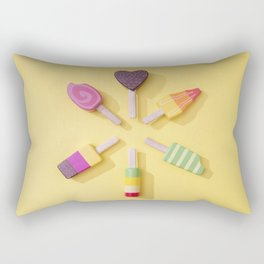 Ice Cream Lollipops on a Bright Yellow Background Rectangular Pillow