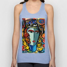 Portrait of a Girl with Hat French Pop Art Expressionism Unisex Tank Top